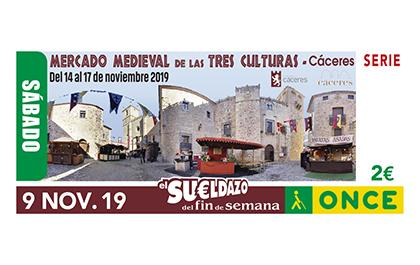 Cupón de la ONCE dedicado al Mercado Medieval de las Tres Culturas, de Cáceres