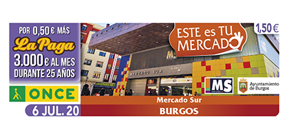 Cupón de la ONCE dedicado al Mercado Sur de Burgos