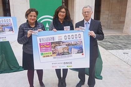 Foto de familia de la presentación del cupón de la ONCE dedicado al Museo de Málaga