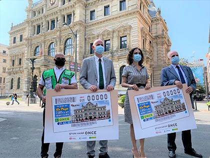 Presentación del cupón de la ONCE dedicado a los 120 años del Palacio de la Diputación Foral de Bizkaia