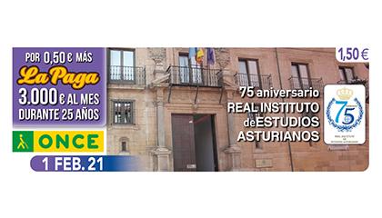 Cupón de la ONCE dedicado al 75 aniversario del Real Instituto de Estudios Asturianos