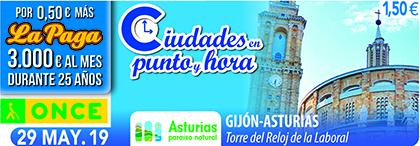Cupón de la ONCE dedicado al Reloj de La Laboral, de Gijón