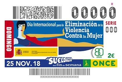 Cupón de la ONCE dedicado al Día Internacional para la Eliminación de la Violencia contra la Mujer 2018