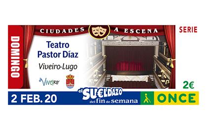 Cupón de la ONCE dedicado al Teatro Pastor Díaz, de Viveiro Lugo 020220