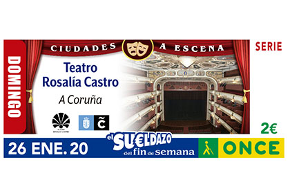 Cupón del 26 de enero dedicado al Teatro Rosalía de Castro de A Coruña