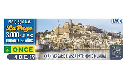 Cupón dedicado al 20 aniversario de la declaración de Ibiza como Patrimonio Mundial de la Humanidad