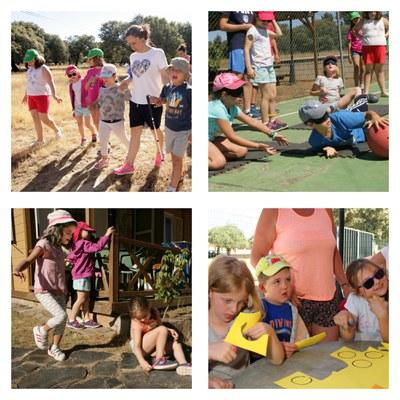 Collage con varios momentos de uno de los campamentos de verano de la ONCE
