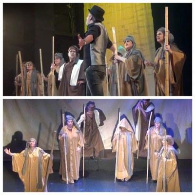 Collage con dos momentos de la representación de Afrodita