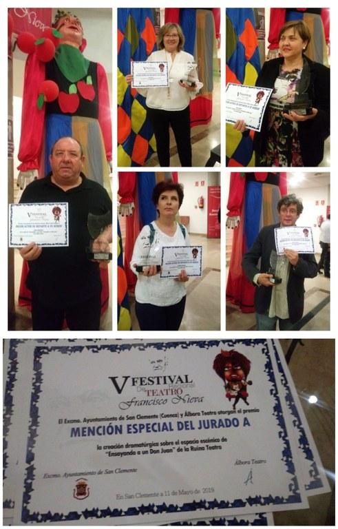Collage con los diferentes premios concedidos a La Ruina