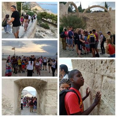 Collage visita alumnos ciegos ingleses y españoles al Castillo de Alicante