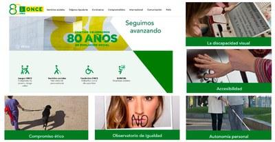 Pantallazo de la nueva web ONCE