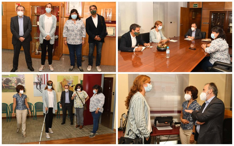 Collage con varios momentos de la visita de Mónica García