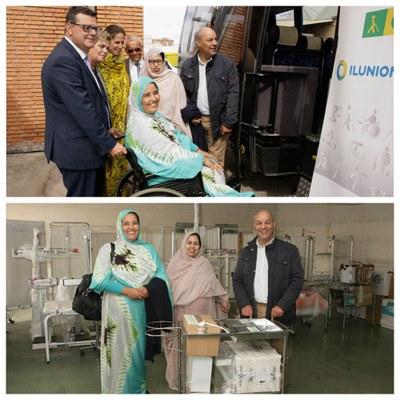 Collage con dos momentos de la donación de material al pueblo saharaui