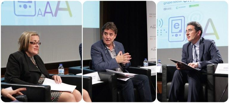 Imelda Fernández, Luis García Montero y Andrés Ramos durante la presentación de la web de Marrakech