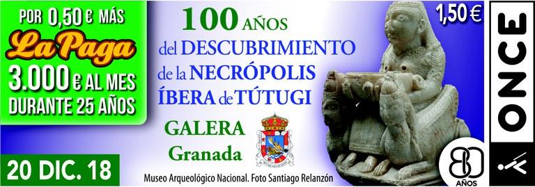 Cupón del 20 de diciembre dedicado al Centenario de la Necrópolis Íbera de Tútugi de Galera