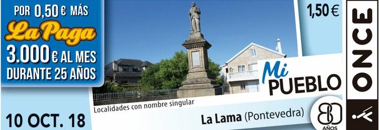 Cupón del 10 de octubre dedicado a La Lama (Pontevedra)