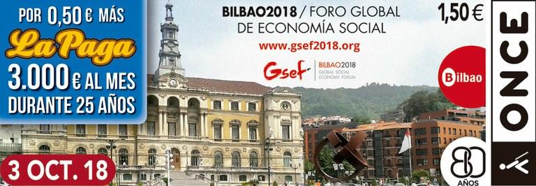 Cupón del 3 de octubre dedicado al Foro Global de la Economía Social de Bilbao