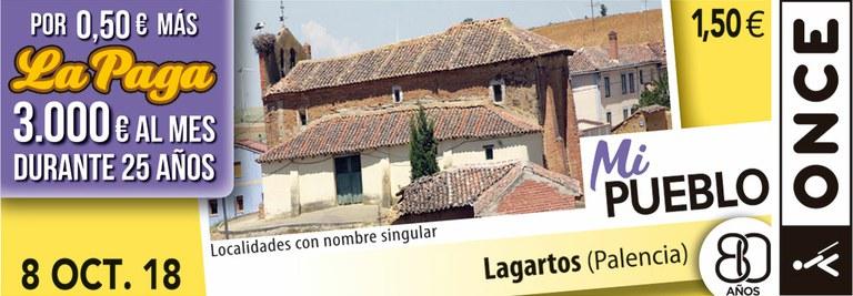 Cupón del 8 de octubre dedicado a la localidad de Lagartos (Palencia)
