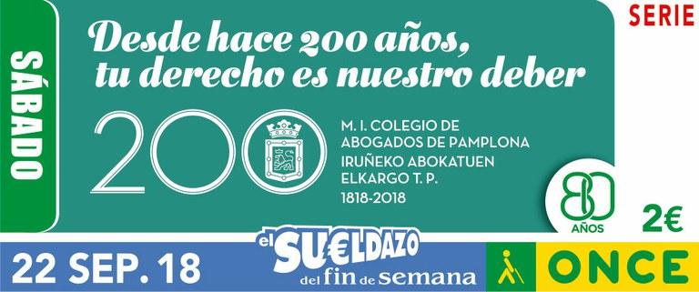 Cupón del 22 de septiembre dedicado al Bicentenario del Colegio de Abogados de Pamplona