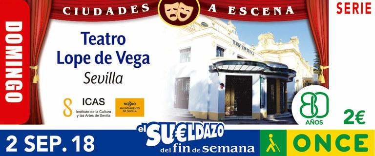 Cupón del 2 de septiembre dedicado al Teatro Lope de Vega de Sevilla