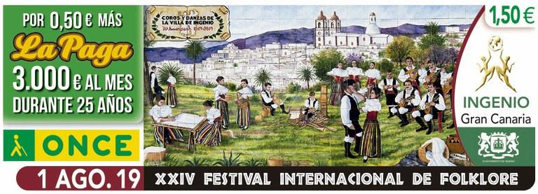 Cupón del 1 de agosto dedicado al XXIV Festival de Folklore de Ingenio