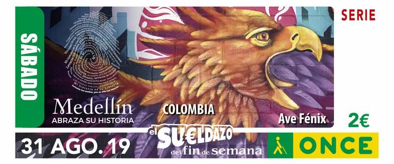 Cupón del 31 de agosto dedicado a la ciudad de Medellín (Colombia)