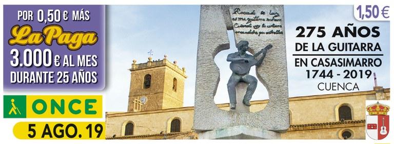 Cupón del 5 de agosto dedicado a los 275 años de la Guitarra en Casasimarro (Cuenca)