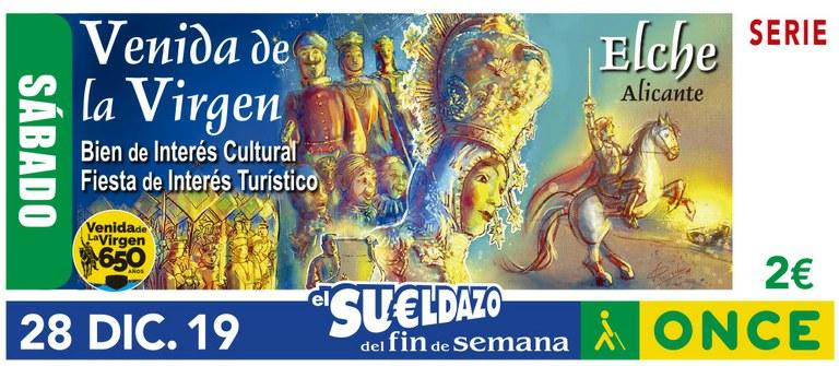 Cupón del 28 de diciembre dedicado a la Fiesta de la Venida de la Virgen de Elche