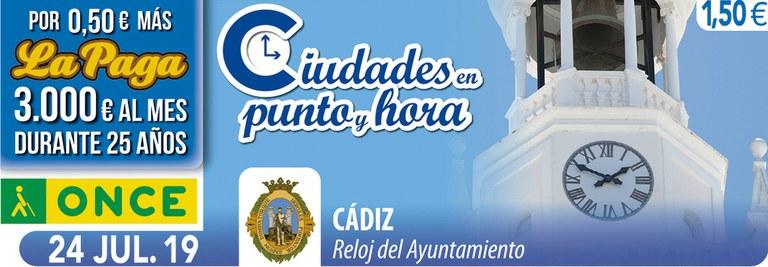 Cupón del 24 de julio dedicado al reloj del Ayuntamiento de Cádiz