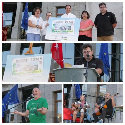 Collage con varios momentos de la presentación del cupón del 20 de julio Robledo de Chavela