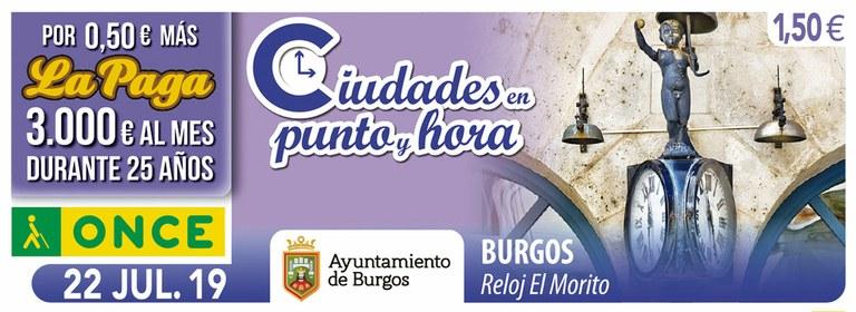 Cupón del 22 de julio dedicado al Reloj El Morito de Burgos