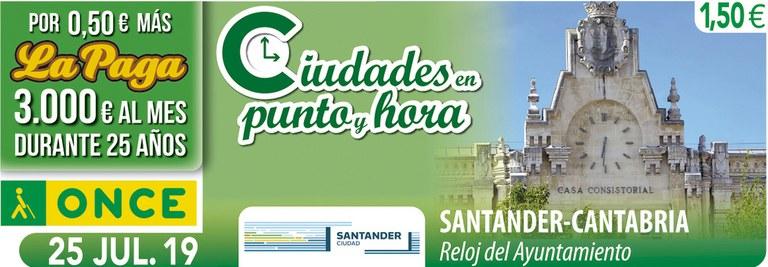 Cupón del 25 de julio dedicado al reloj del Ayuntamiento de Santander