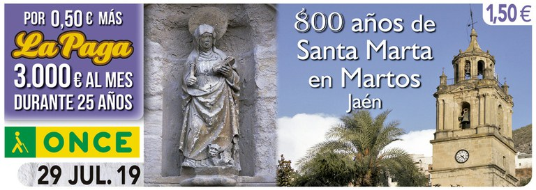 Cupón del 29 de julio dedicado al 800 aniversario de Santa Marta en Martos