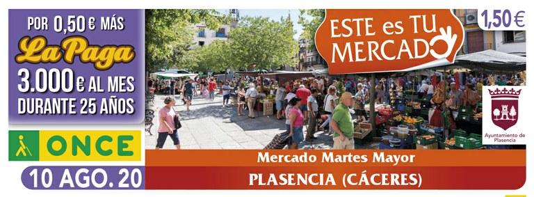 Cupón del 10 de agosto dedicado al Mercado Martes Mayor de Plasencia