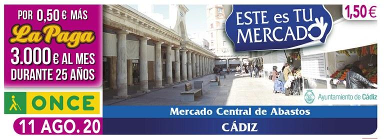 Cupón del 11 de agosto dedicado al Mercado de Cádiz