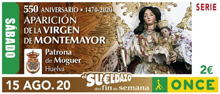 Cupón del 15 de agosto dedicado a la Virgen de Montemayor de Moguer (Huelva)