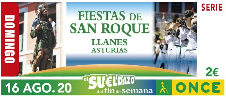 Cupón del 16 de agosto dedicado a las Fiestas de San Roque (Asturias)