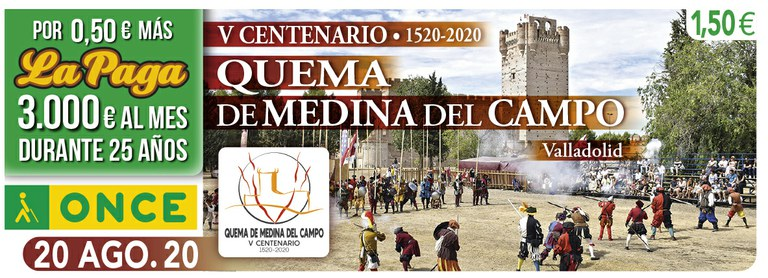 Cupón del 20 de agosto dedicado al V Centenario de la Quema de Medina del Campo