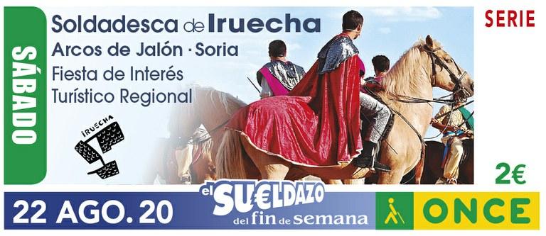 Cupón del 22 de agosto, dedicado a la Soldadesca de Iruecha (Soria)
