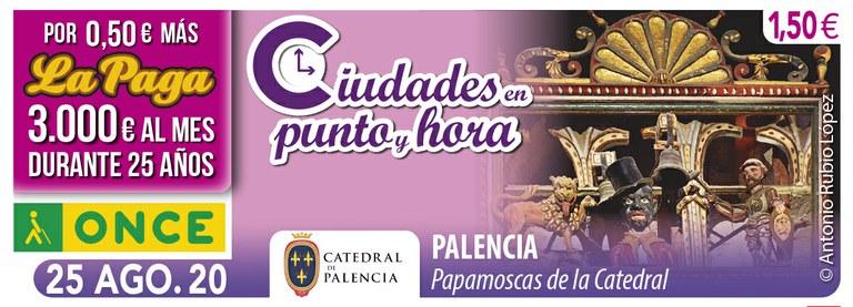 Cupón del 25 de agosto dedicado al reloj de la Catedral de Palencia