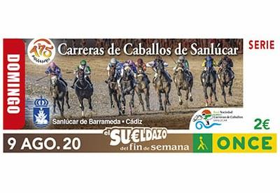 Cupón del 9 de agosto dedicado a las Carreras de Caballos de Sanlúcar de Barrameda