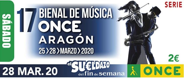 Cupón del 28 de marzo dedicado a la 17 Bienal de Música ONCE