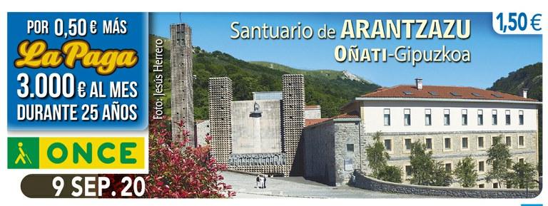Cupón del 9 de septiembre dedicado al Santuario de Ntra. Señora de Arantzazu