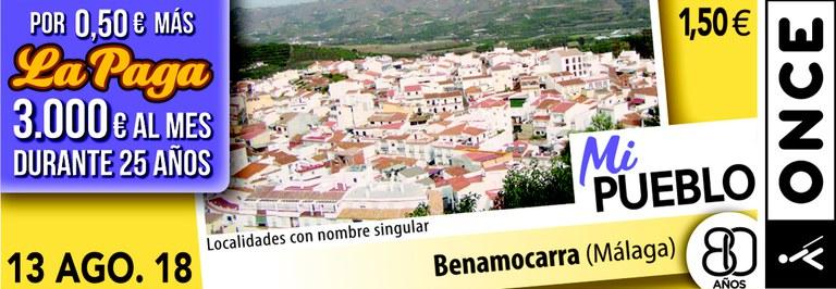Cupón del 13 de agosto dedicado a la localidad malagueña de Benamocarra