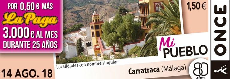 Cupón del 14 de agosto dedicado a la localidad de Carratraca (Málaga)