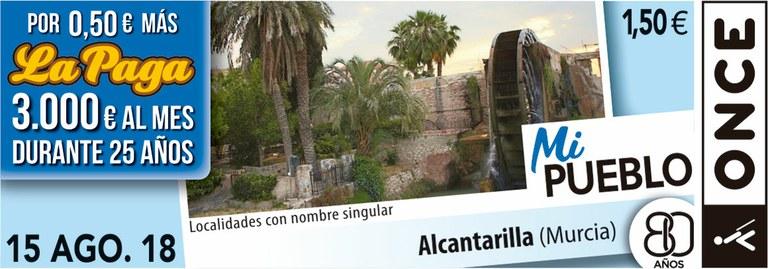 Cupón del 15 de agosto dedicado a la localidad de Alcantarilla (Murcia)