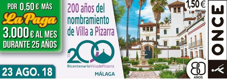 Cupón del 23 de agosto dedicado al 200 Aniversario de la Villa de Pizarra