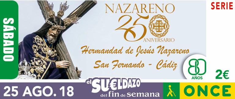 Cupón del 25 de agosto dedicado al 250 aniversario de la Hermandad del Nazareno de San Fernando