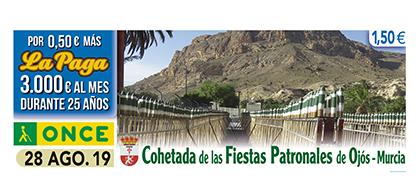 Cupón de la ONCE dedicado a La Cohetada de Ojós Murcia 280819
