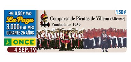 Cupón de la ONCE dedicado a la Comparsa de Piratas de Villena 040919